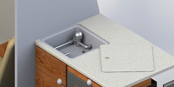 Kitchen countertop, showing hidden sink & faucett